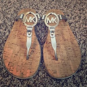 Michael Kors Silver Cork Sandals